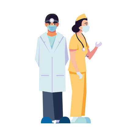 Man and woman doctor with uniforms and masks design of Medical care health and emergency theme Vector illustration
