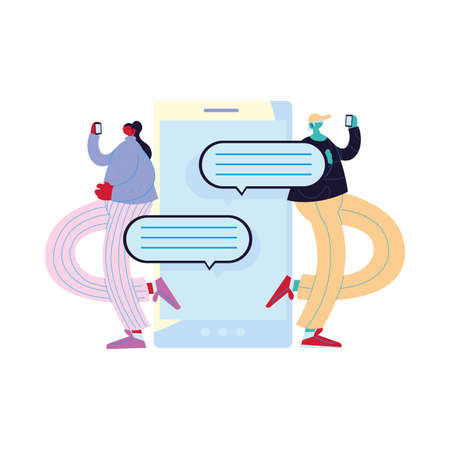 Woman and man cartoon with smartphone chatting and bubbles design, Message chat and communication theme Vector illustration