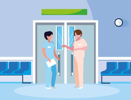 couple medicine workers in elevator door vector illustration design Иллюстрация