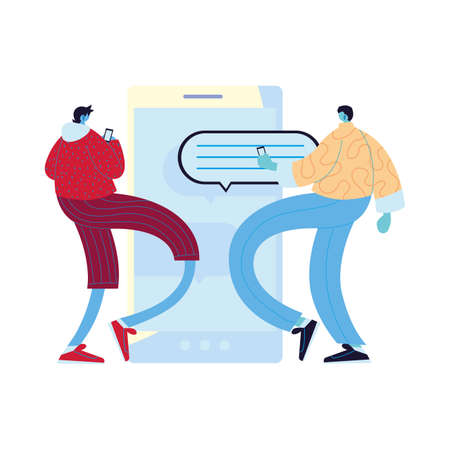 Men cartoons with smartphones chatting and bubble design, Message chat and communication theme Vector illustration Ilustrace