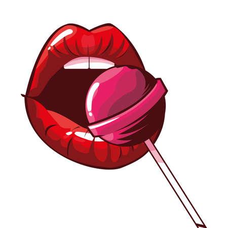 sexy female lips with lollipop pop art style vector illustration design 向量圖像