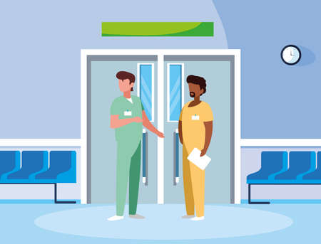 interracial couple medicine workers in elevator door vector illustration design