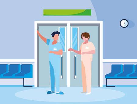 male medicine workers in elevator door vector illustration design