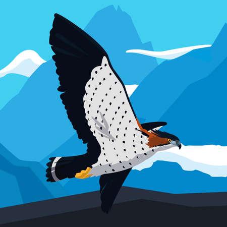 beautiful hawk flying majestic bird in the landscape vector illustration design Vectores