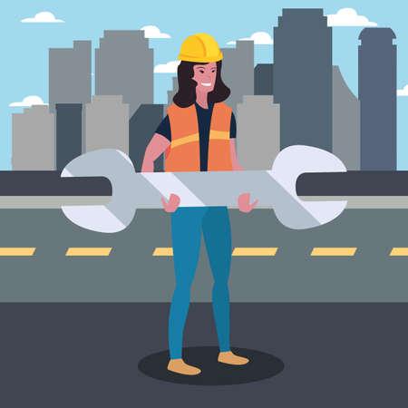 construction worker female wrench vector illustration design Standard-Bild - 147692363