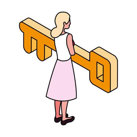 businesswoman with golden key on white background vector illustration design