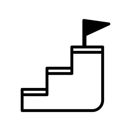 stairs with flag on top on white background vector illustration design