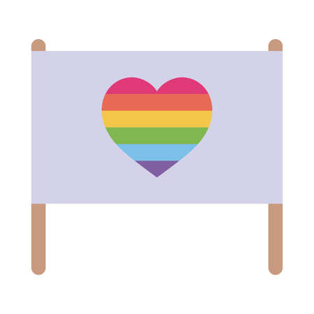 lgbt flag with heart flat style icon design, Pride day sexual orientation and identity theme Vector illustration