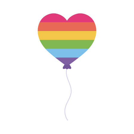 lgtbi heart balloon flat style icon design, Pride day sexual orientation and identity theme Vector illustration  イラスト・ベクター素材
