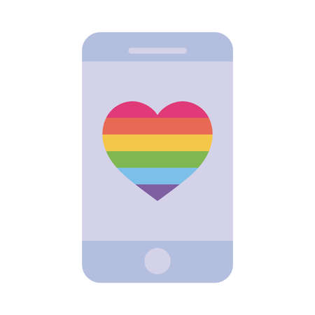 lgtbi heart inside smartphone flat style icon design, Pride day sexual orientation and identity theme Vector illustration