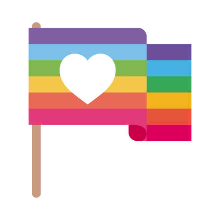 lgtbi flag with heart flat style icon design, Pride day sexual orientation and identity theme Vector illustration