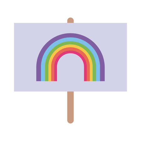 lgtbi flag with rainbow flat style icon design, Pride day sexual orientation and identity theme Vector illustration  イラスト・ベクター素材