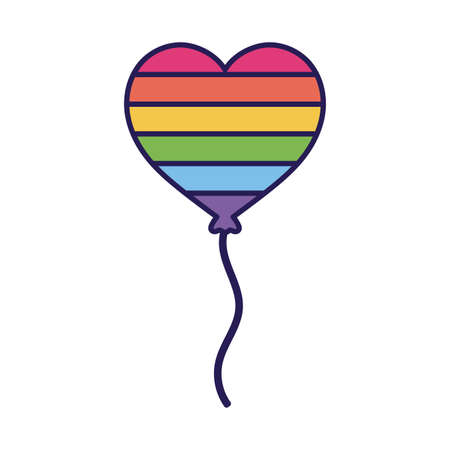 lgtbi heart balloon fill style icon design, Pride day sexual orientation and identity theme Vector illustration  イラスト・ベクター素材
