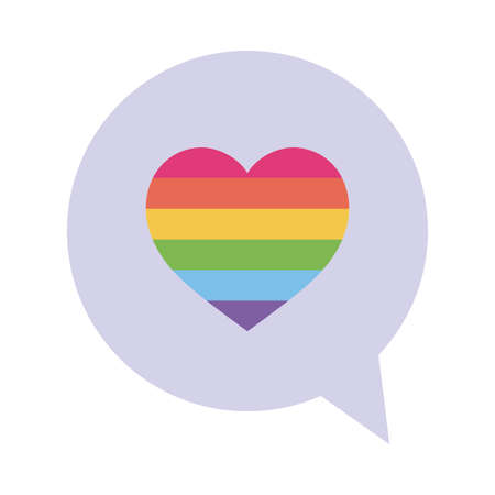 lgbt heart inside bubble flat style icon design, Pride day sexual orientation and identity theme Vector illustration