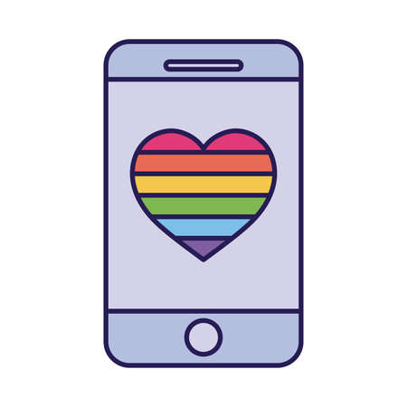 lgtbi heart inside smartphone fill style icon design, Pride day sexual orientation and identity theme Vector illustration