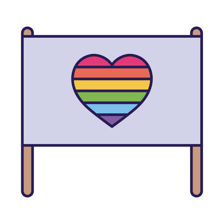 lgbt flag with heart fill style icon design, Pride day sexual orientation and identity theme Vector illustration