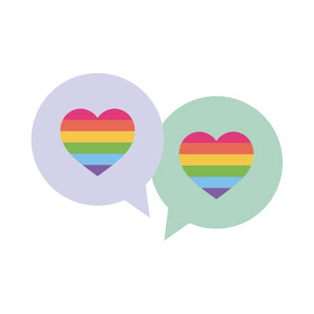 lgbt hearts inside bubbles flat style icon design, Pride day sexual orientation and identity theme Vector illustration  イラスト・ベクター素材