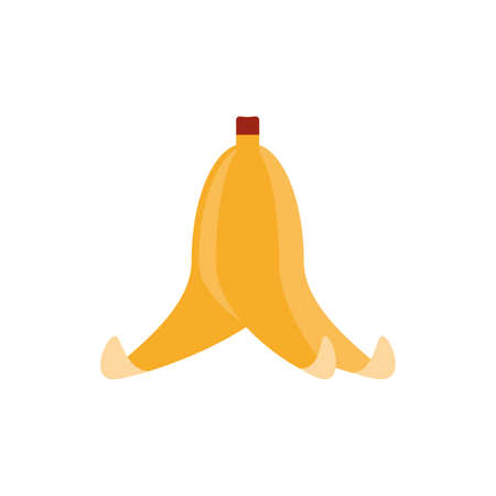 banana peel over white background, flat style icon, vector illustration Ilustracja