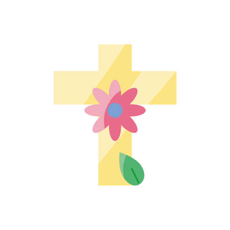 cross with beautiful flower icon over white background, colorful and flat style design, vector illustration Çizim