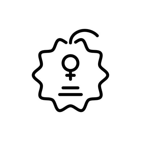 seal stamp with female gender symbol over white background, line style icon, vector illustration Иллюстрация