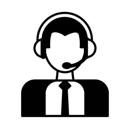 man operator with headphones, customer service vector illustration design