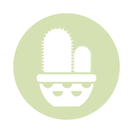 cactus with potted, block and flat style icon vector illustration design