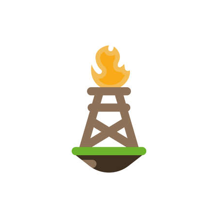 Oil tower with flame design, Fracking industry fuel technology power industrial production and petroleum theme Vector illustration