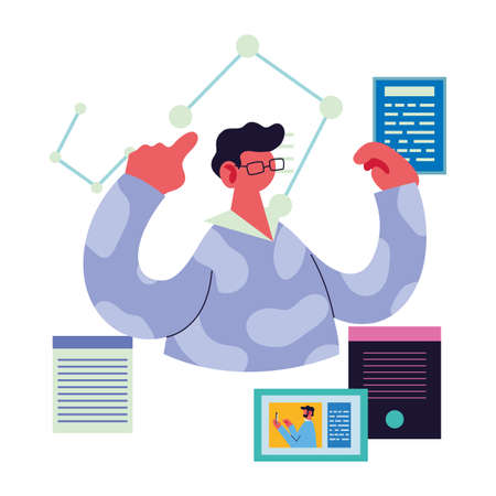 professional man on video call at home vector illustration design