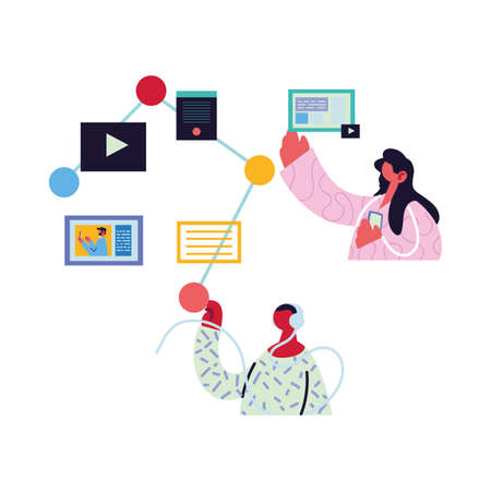 couple working and learning online vector illustration design Illustration