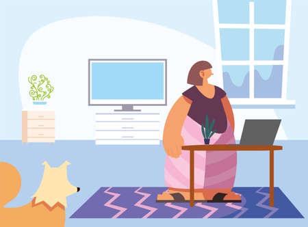 woman and pet in home vector illustration design. Illustration