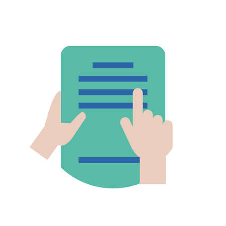 Hands holding document design, Data archive storage organize business office and information theme Vector illustration