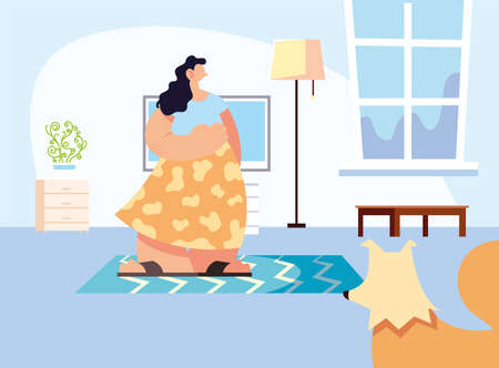 couple and pet in home vector illustration design.