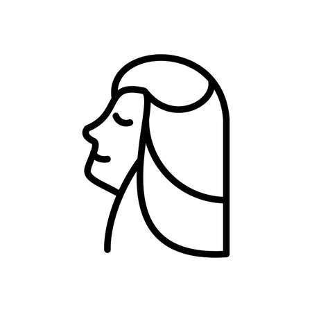 woman profile icon over white background, line style icon, vector illustration Vettoriali