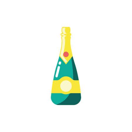 Champagne bottle design, Alcohol drink bar beverage liquid menu surprise restaurant and celebration theme Vector illustration 向量圖像
