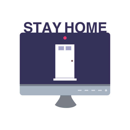 stay at home campaign with computer screen vector illustration design 向量圖像