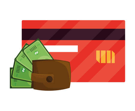 wallet with bills dollars and credit card vector illustration design