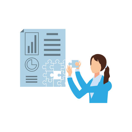 businesswoman with puzzle pieces in shape document statistic vector illustration design Illustration