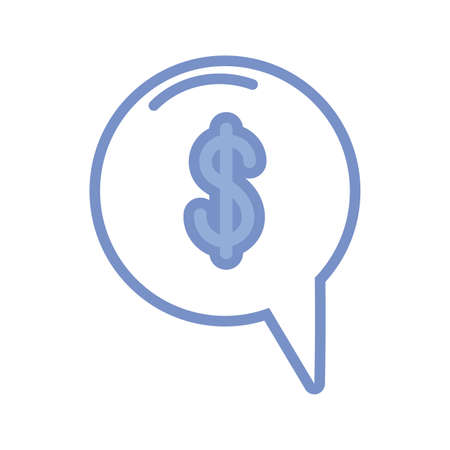 speech bubble with money symbol icon over white background, blue outline style, vector illustration Ilustracja