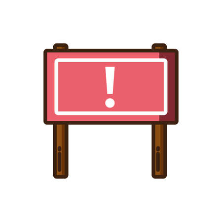warning road sign icon over white background, colorful fill style, vector illustration design