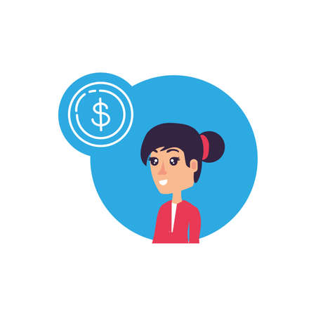 business woman with coin dollar vector illustration design