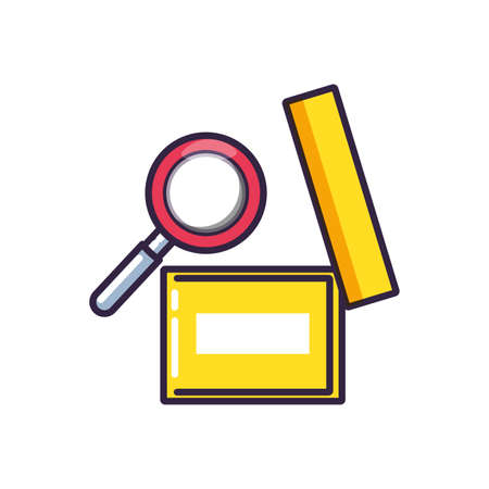 magnifying glass with box office vector illustration design