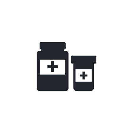 bottle of pills, silhouette style icon vector illustration design