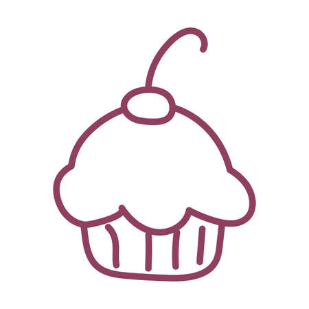 delicious and fresh cupcake on white background, line style icon vector illustration design