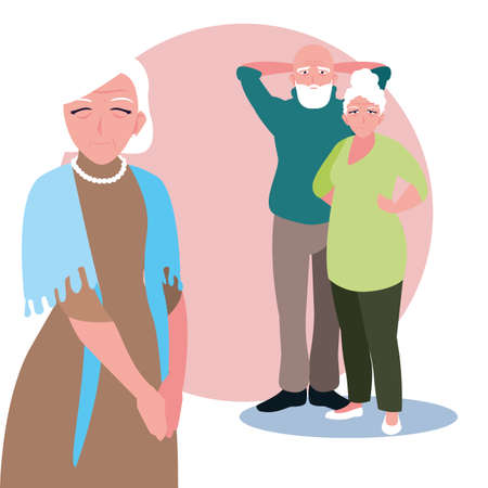 old people sharing at home vector illustration design Illustration