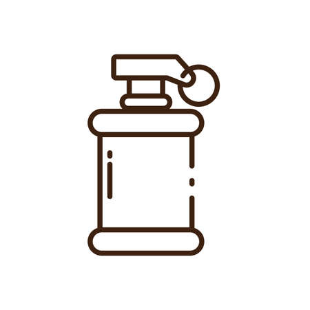 smoke grenade icon over white background, line style, vector illustration design