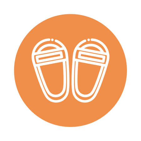 nice block and flat style icon sandals vector illustration design Çizim