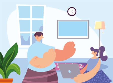woman at home for prevention of coronavirus vector illustration design