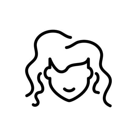avatar girl face icon over white background, line style icon, vector illustration