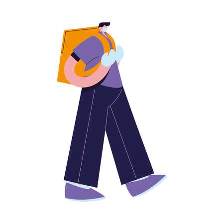Courier with mask, gloves and packages to deliver vector illustration desing Ilustração
