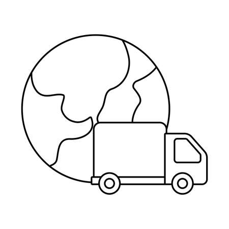 cargo transport truck with planet earth , line style icon vector illustration design Illustration